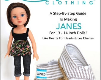 Pixie Faire Liberty Jane  JANES Doll Clothes Shoe Pattern for 14 inch Hearts for Hearts and Corelle Les Cheries Dolls - PDF