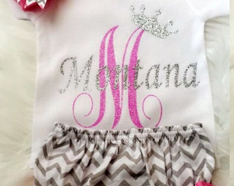 PERSONALIZED Baby Girl name onesie | Baby Shower Gift | Coming Home Outfit | Newborn Baby Girl | Glitter