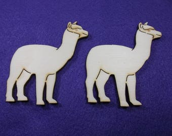 2 Alpacas, wood, 8 x 7,5 cm (10-0030A)
