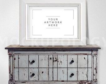 11x17 Horizontal White Digital Frame Mockup, Distressed Chest Vintage Poster Frame Mockup, Styled Photography Mockup, INSTANT DOWNLOAD