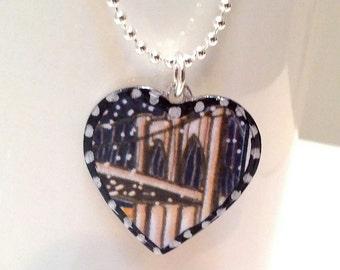 Wishing Well Studio's Brooklyn Bridge Heart Pendant. Lovingly Handmade in Brooklyn.