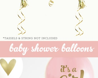 Girl Baby Shower Centerpiece Girl Baby Shower Decorations Gold and Pink Baby Shower Decorations (EB3110BBY) - SET of 3 Balloons