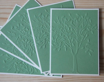 Embossed Tree Card Set. 5 Tree Note cards.  Blank note cards.  Tree Stationery gift set. Embossed Card Set. Tree Thank You Cards.