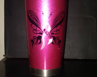 Butterfly warrior 20oz stainless steel tumbler. Breast cancer awareness month. Metallic pink,butterfly, ribbon