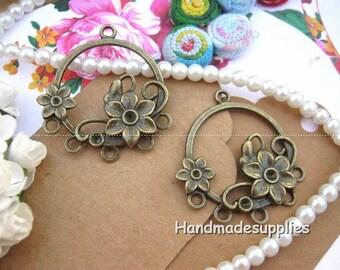 Set of 6 holders flower hook earrings in bronze (COOGC)