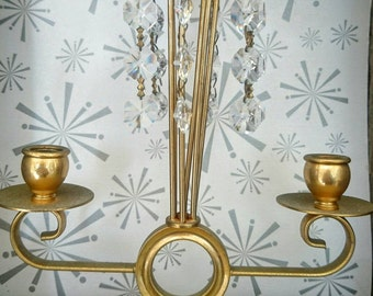 Small Brass and  Crystal Candelabra, Crystal Chandelier.  Brass Candleholder.  Brass Chandelier, Vintage Candleholder