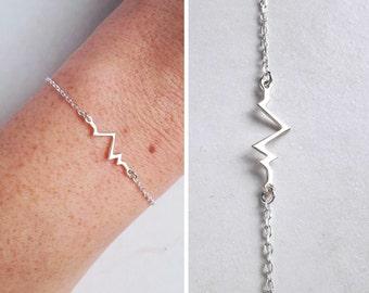 Heartbeat bracelet silver Bracelet pulse Bracelet women Bracelet love Bracelet discreet sterling silver jewelry