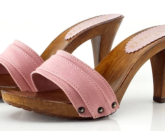 Wooden shoes pink-clogs pink-hooves pink 9 cm