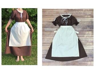 Complete Outfit - Girls Size 14/16 Pioneer Trek Colonial Frontier Prairie Pilgrims Renaissance Reenactment Civil War Dress Costume