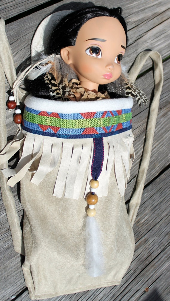 Native American Girl Indian Papoose Baby Doll Carrier Fits 18