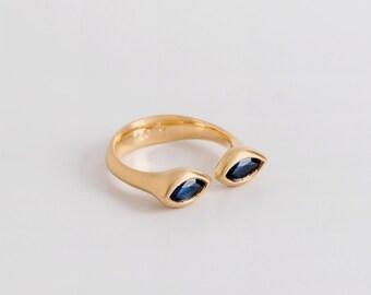 Saphire Ring, Marquise Horseshoe Ring, Blue Sapphire Ring, Double Sapphire Ring, Dual Gemstone Ring, Dual Birthstone Ring, Adjustable Ring