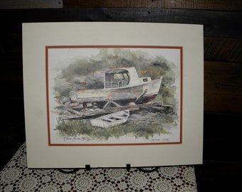 Signed, Numbered Original Diane Eames Esterly Watercolor Painting, Lobster Boat & Dinghy