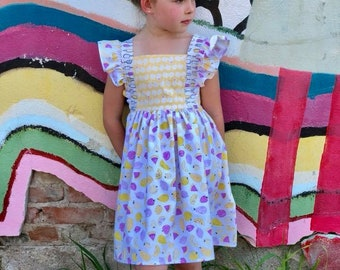 Popsicle Summer Dress with ruffles, girls handmade dress, yellow and pink dress, toddler dress, fruit print dress, birthday dress for Summer