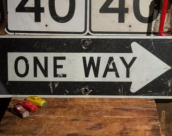 ONE WAY Sign Vintage Street Sign Industrial Decor Wall Decor Wall Hanger Old Sign Metal Sign LARGE Sign Road Sign Traffic Signage Old Signs