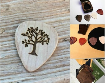 Guitar Pick, Tree Engraved Guitar pick, Plectrum, Wood Guitar Pick, Guitar Pick Gift set, Guitarist Gift, Guitar Gift