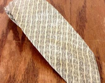 "RARE vtg 50s 60s Lanvin beige/gray Striped Silk Skinny Tie Necktie 56"" 2.25"""