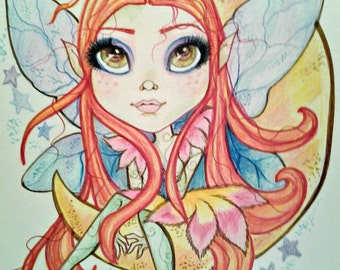 Fairy Moon Big Eye Goodnight Moon Fantasy Art Print by Leslie Mehl