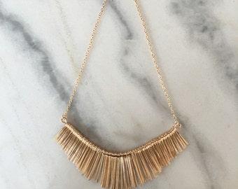 Metal Tassel Bib Statement Necklace