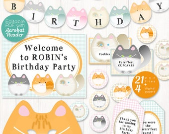 Cat party decor printable, 19 EDITABLE cat party decorations, personalized pink kitty birthday party, printable girl birthday with cats