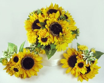 Lifelike Silk Sunflower Cake Topper for Autumn and Fall Rustic Weddings