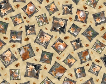 Per Yard, Hautman Brothers Out of the Den Fabric Tan By Quilting Treasures