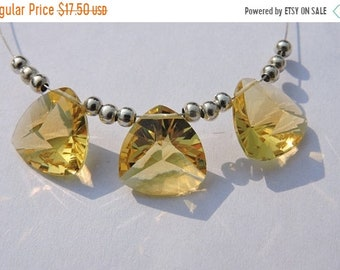 25% OFF Summer Sale 3 Pcs Trios Outrageous Citrine Quartz Concave Cut Trillion Shaped Briolette Size 13 MM