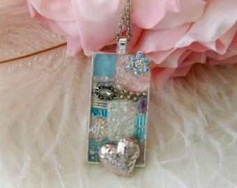 Pink Blue Silver Heart Oblong Pendant on a Silvertone chain, Glass beads, Mosaic, Charm, Pastel, Beachy, Summer pendant, Chic