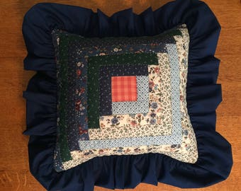 Hand-Quilted Log Cabin Pillow in blues and greens