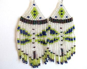 Dragonfly Earrings, Indian Earrings, Big Beaded Earrings, Native American Style, Boho Jewelry, Fringe Earrings, White, moonlilydesigns
