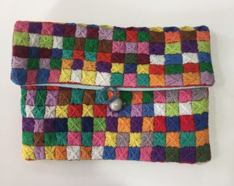 Handmade embroidered purse - geometric Malagasy design