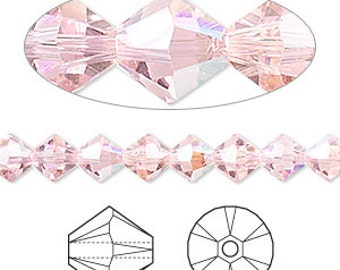 5mm and 6mm Light Rose AB - Swarovski Bicone Crystals - Light Rose - AB Finish - Package of 150