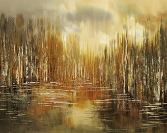 Neutral nature earthy toned giclee painting on canvas of original forest painting DEEP COVER landscape art - by Tatiana Iliina