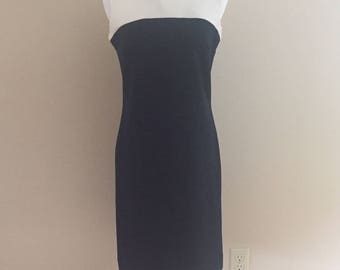 1960s  Vintage Navy and White Ribbed Knit Dress/Cos Cob