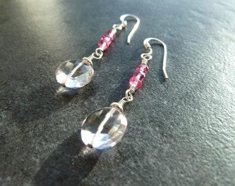 Pink Amethyst Earrings, Pink Quartz, Amethyst Earrings, Summer Earrings, Drop Earrings, Pink Beads, Silver Earrings, Summer Style