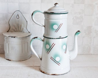RARE Antique French Enamelware Coffee Pot - Geometric riangle pattern Home Decor - Country style - Shabby chic