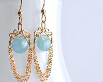Talia - Aquamarine 14k Gold Filled boucles d'oreilles