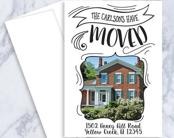 Typography, Moving Announcement, New Address, New Home, Moving, Change of Address, Announcement, Printable, Custom Address, Moving Card