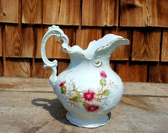 Antique Etruria Mellor & Co. Pitcher, Antique Ironstone, Ironstone Pitcher, Floral Pitcher, Antique Floral Pitcher, Shabby Chic Decor, Vase