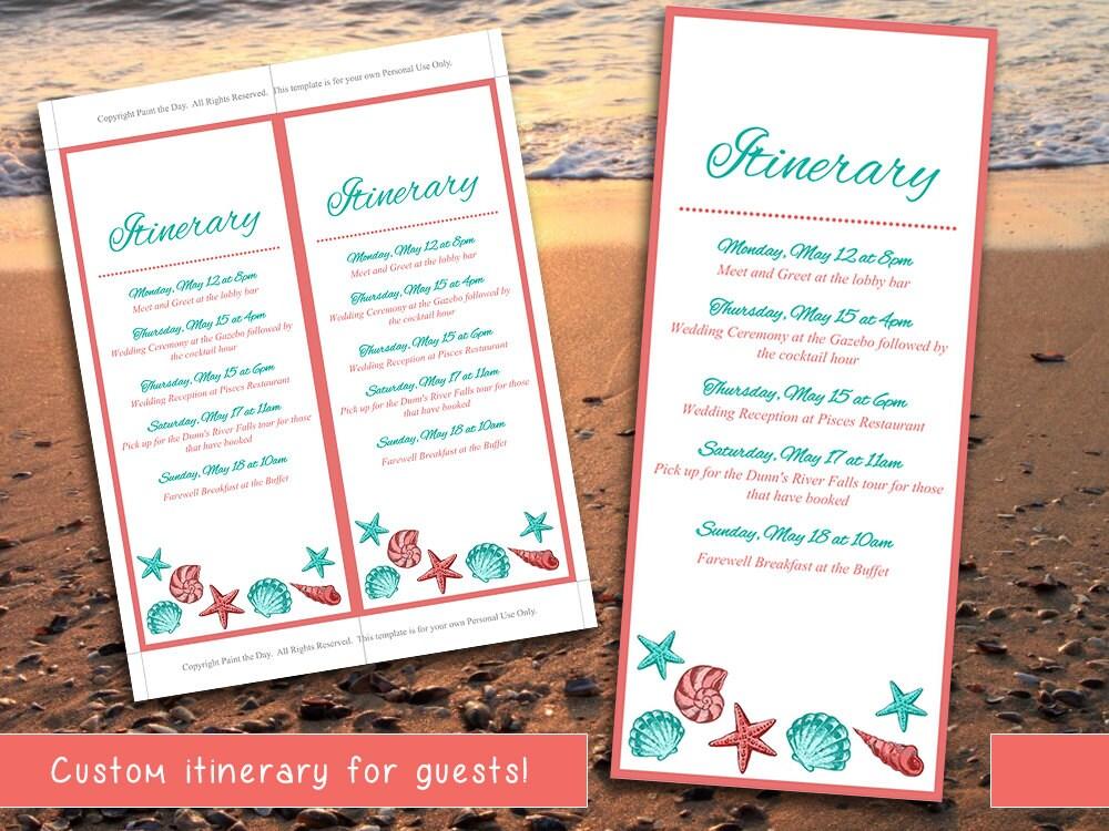 Beach Wedding Itinerary Template Wedding Planner Coral - Wedding invitation templates: free wedding itinerary template
