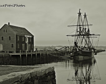 Black and White Photography, Derby Wharf Maritime Museum, Salem, Mass., Travel Photography, Tallship Photos, Nautical Decor, Historic