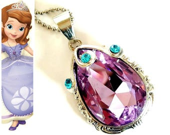 PRINCESS SOFIA Amulet ,Sofia The First Amulet,  Purple Amulet, Princess Sofia Crystal Amulet, Princess Sofia Necklace , Princess Sofia Charm