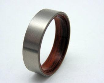 Titanium and wood ring  bentwood Rosewood liner and satin titanium wedding band