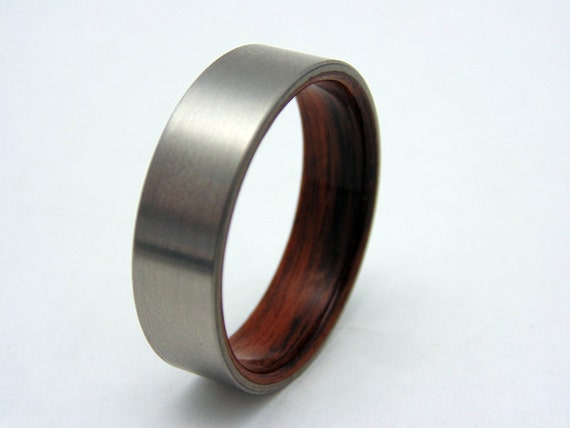 mens ring rosewood and titanium wedding band wood ring. Black Bedroom Furniture Sets. Home Design Ideas