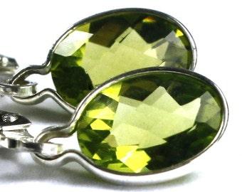 Peridot, 925 Sterling Silver Leverback Earrings, SE001