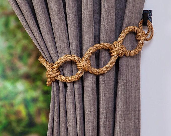 Manila Rope Chain Chunky Curtain Tiebacks Nautical Shabby Chic Living Room Home Decor Curtain Tie-Backs Rope Hold-Backs Window Treatment