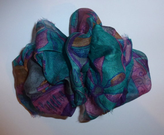 Becky Bows ~ OOAK ladies  Hand crafted SILK shabby chic  BIG fashion hair bow Women or Girls giant purple teal