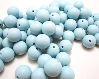 15mm Ice Blue Silicone Loose Beads for Silicone Teething Nursing Necklace Lot of 10