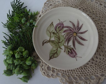 Small English FLORAL PIN DISH - Purple Flowers with Green Leaves - Branksome China, England - 1960's