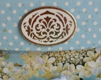 "Housewarming Apple Blossom, Cottage Chic, Polk Dots, Gift Box Emblem ""Memory Compendium©"" Aqua, Mary Lynn Savko RoadSideBoutique"
