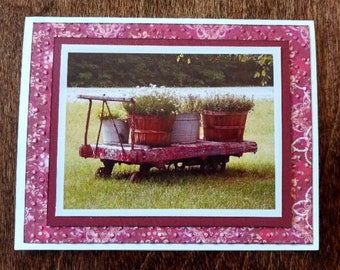 Old Railroad Cart with Bushels of Flowers Photo Blank Card